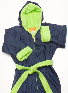 Towelling Swim Parka in Navy & Lime