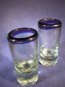 Pair of Shot Glasses Handblown from Tonala, Mexico