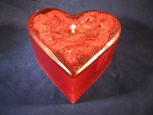 Handmade Red Heart Candle Cinnamon Scent