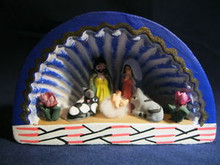 Miniature Ilobasco Clay Folk Art Nativity in Hut from El Salvador