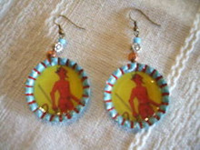 Handmade  Recycled Bottle Cap Earrings w/ Diablito