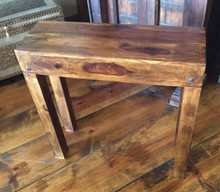 """Accent Table Rustic Reclaimed Hardwood Narrow 10"""" Depth Brown Finish"""