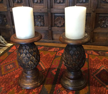 "Candle & Solid Hardwood Handcarved 9"" Pineapple Shape Candleholder Set of 2"