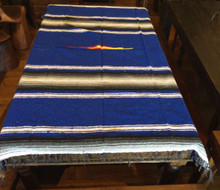 Mexican Blanket 3 lbs Heavy Weight Diamond Design Blue Black Stripe Yoga