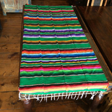 "Satillo or Serape Style Acrylic Mexican Blanket 1.2 lbs 37"" by 72"" Green Multi"