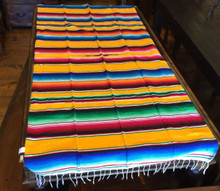 "Satillo or Serape Style Acrylic Mexican Blanket 1.2 lbs 37"" by 72"" Yellow Multi"
