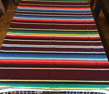 "Satillo or Serape Style Lrg Cotton Mexican Blanket 2 lbs 59"" by 84"" Multi Color"