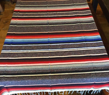 "Satillo or Serape Style Lrg Cotton Mexican Blanket 2 lbs 59"" by 84"" Multi Color Gray"