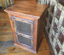 "Nightstand Rustic Reclaimed Hardwood with Iron Details Brown 21"" wide 30"" tall"