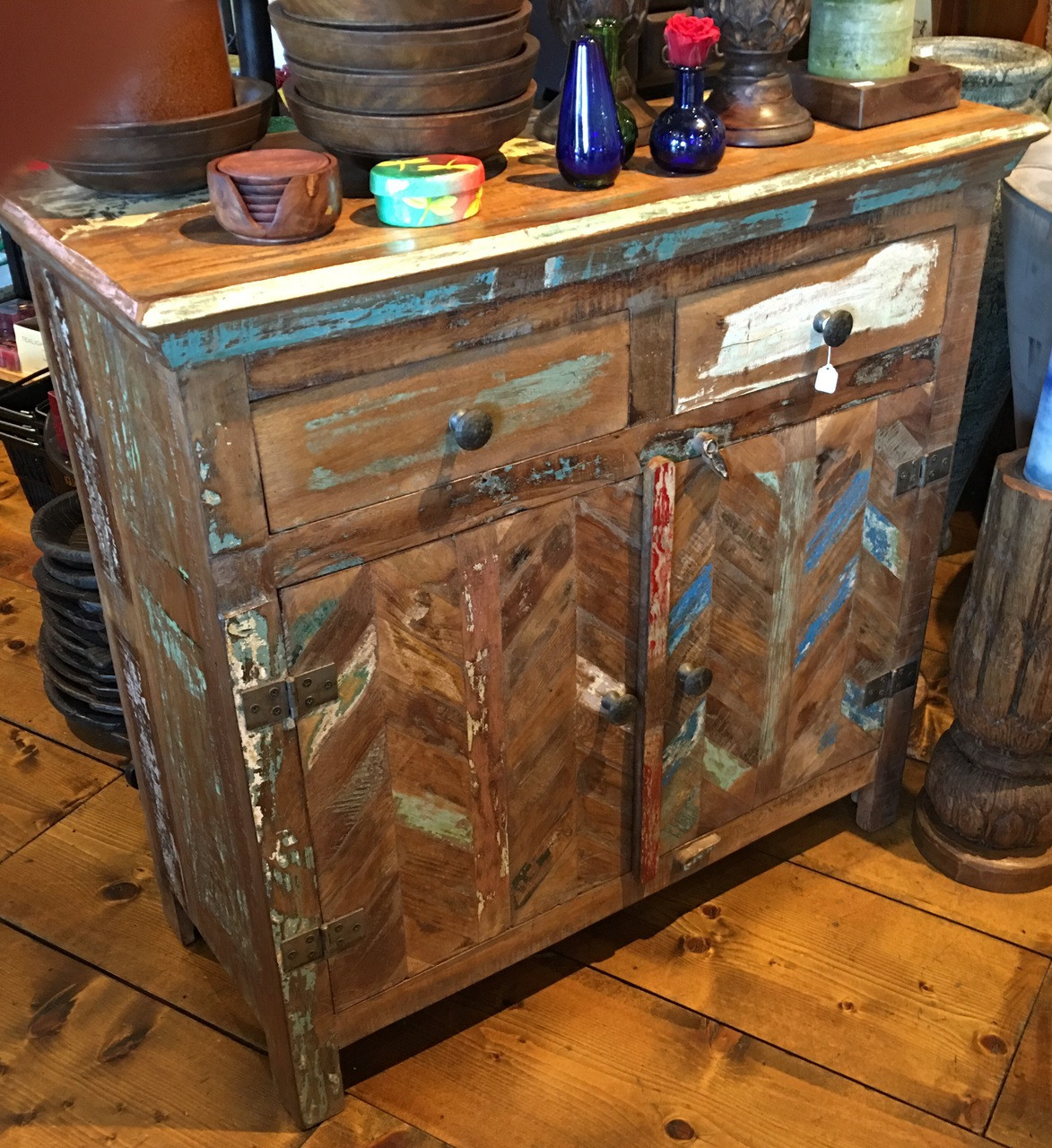 Rustic Reclaimed Wood Cabinet With Two Drawers And Two