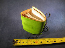 Mini Hand Made Leather Journal with Hand Made Paper Light Green Color