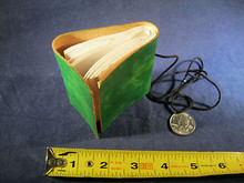 Mini Hand Made Leather Journal with Hand Made Paper Green Color
