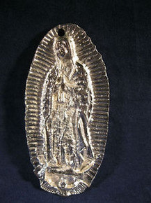 Milagro of the Virgin of Guadalupe Hand Made of Pewter in Mexico