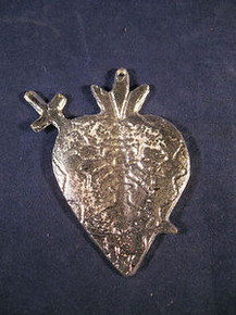 Milagro of the Sacred Heart Hand Made of Pewter in Mexico