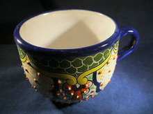 Large Coffee Cup Hand Made Talavera Pottery in Guanajuato, Mexico C1