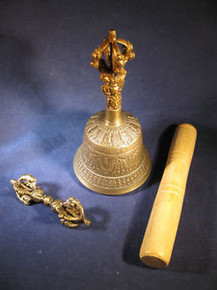 Bronze Bell & Dorje w/ Wood Striker Hand Casted in Nepal