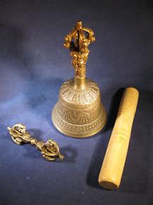 Bronze Bell & Dorje w/ Wood Striker Hand Casted in Nepal