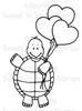 Turtle's Heart Balloons Digital Stamp