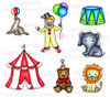 Circus Digital Stamp Collection: Pre-Colored