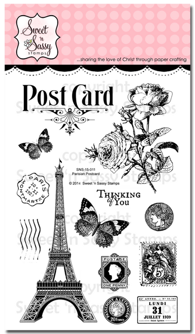 Parisian Postcard Clear Stamp Set
