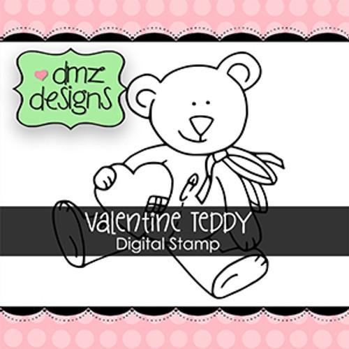 Valentine Teddy with Sentiment Digital Stamp