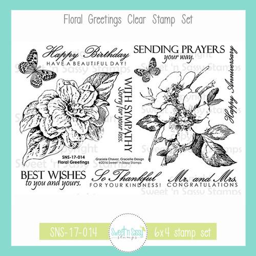 Floral Greetings Clear Stamp Set