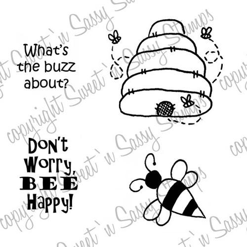 Bee Happy Digital Stamp