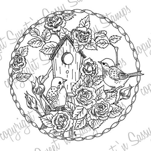 Birds & Roses Digital Stamp