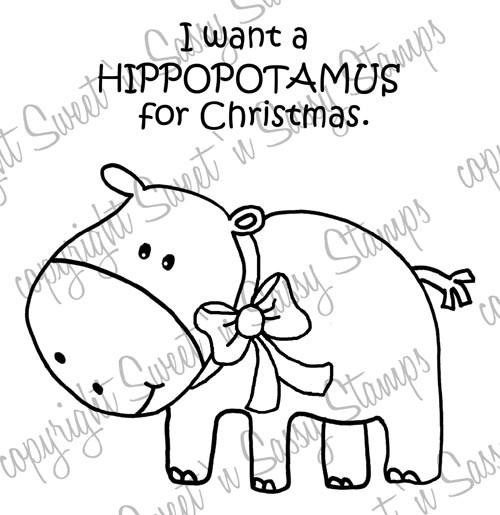 Christmas Hippopotamus Digital Stamp