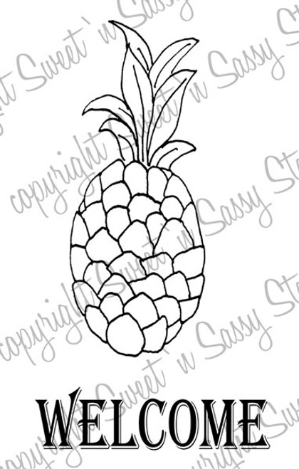Welcome Pineapple Digital Stamp