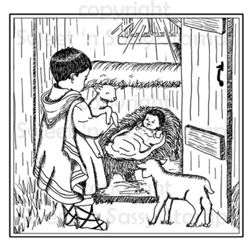 Away in a Manger Digital Stamp