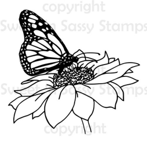 Butterfly & Flower Digital Stamp