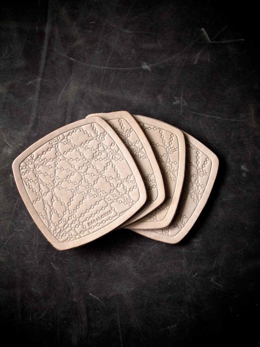 """""""Bubbly"""" Natural Vegetable Tanned Leather Coaster"""