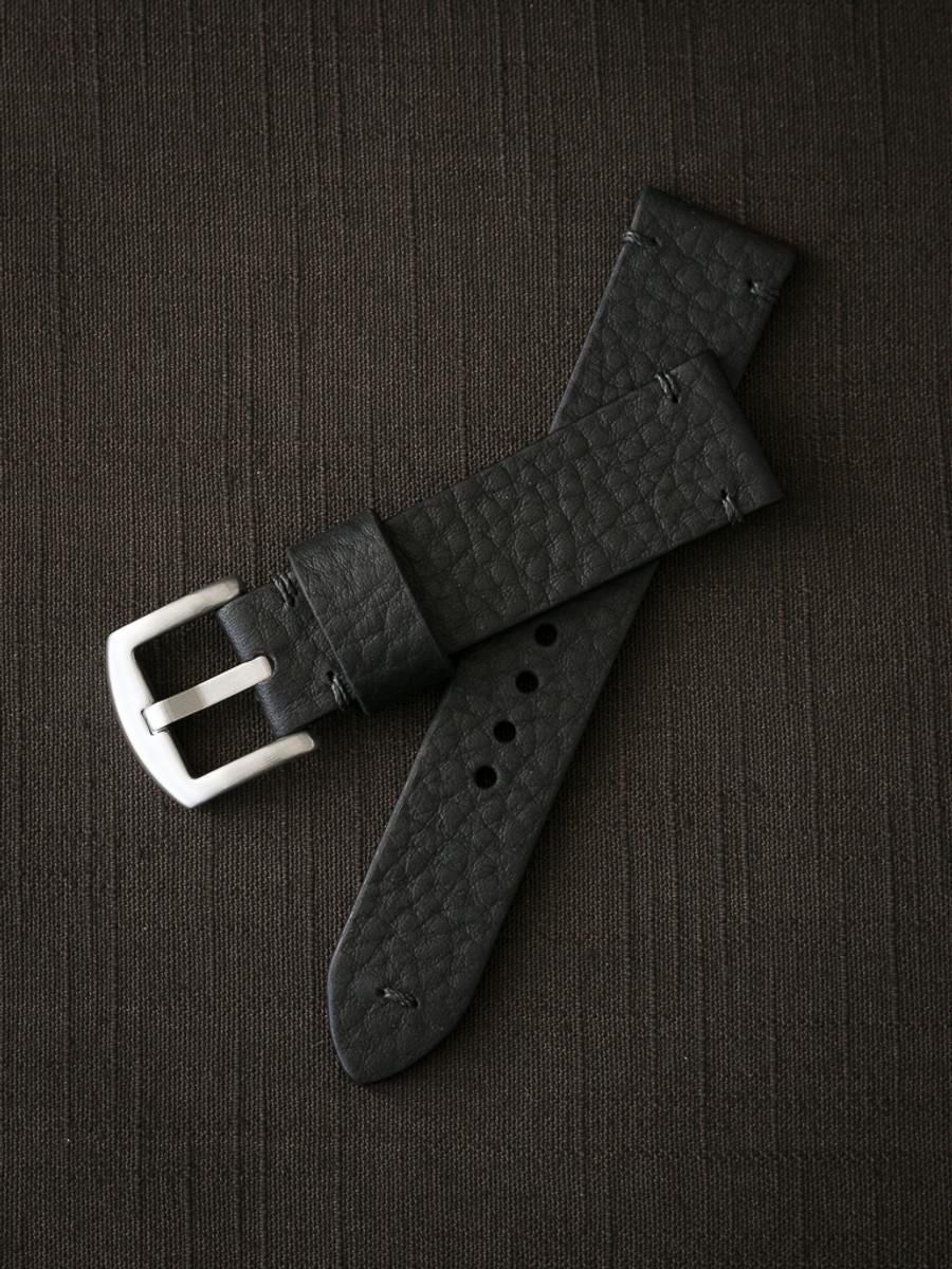 """Eckhardt"" Black Leather Watch Strap"