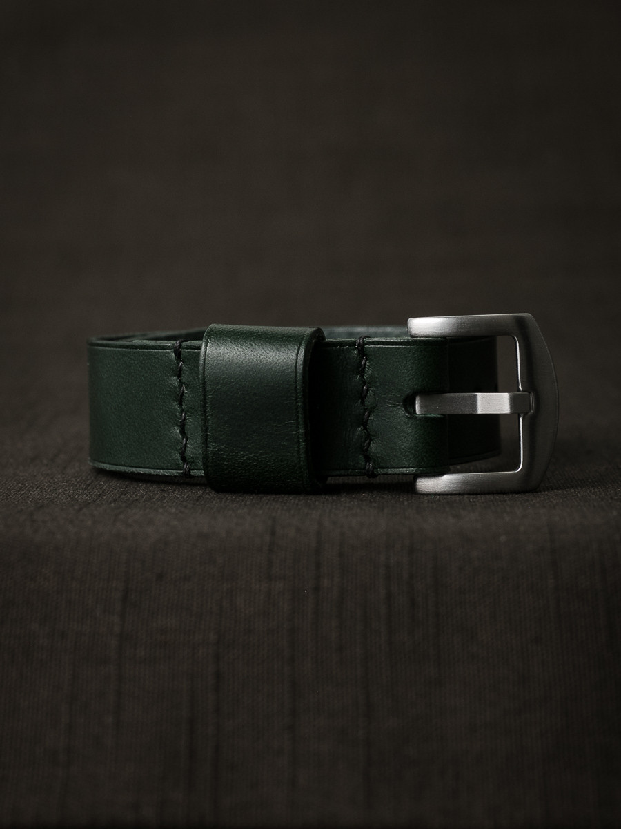 """""""Knight"""" Racing Green Leather NATO Watch Strap"""