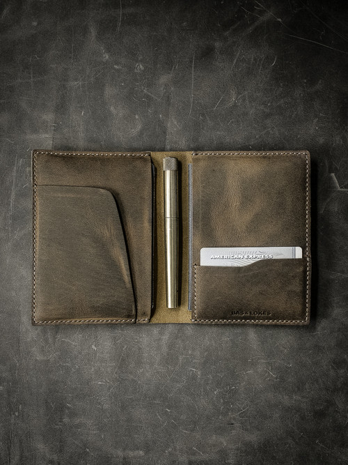 """Magellan"" Brown Oil Tan Leather Double Passport Wallet"