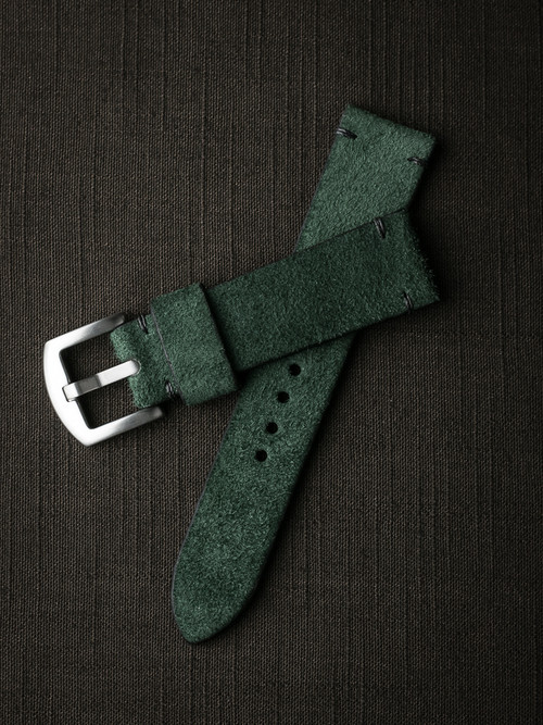 """Malachi"" Malachite Green Suede Watch Strap"