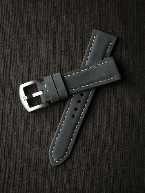 """Zaine"" Grey/blue Padded Nubuck Watch Strap"