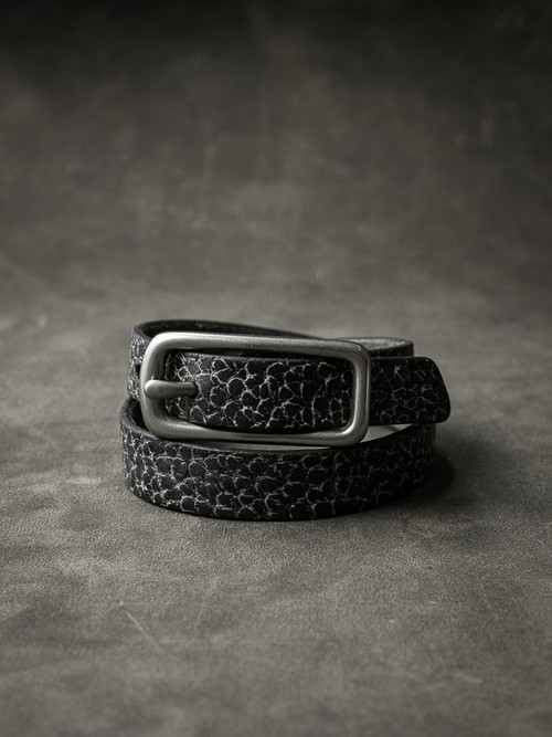 """Blake"" Black and White Pebbly Leather Double Wrap Bracelet"