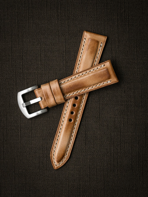 """Underwood""  Natural Vintage Padded Leather Watch Strap"