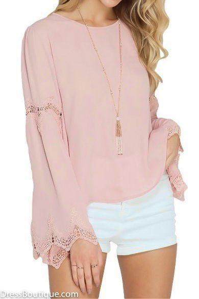 Bell Sleeve Lace Blouse