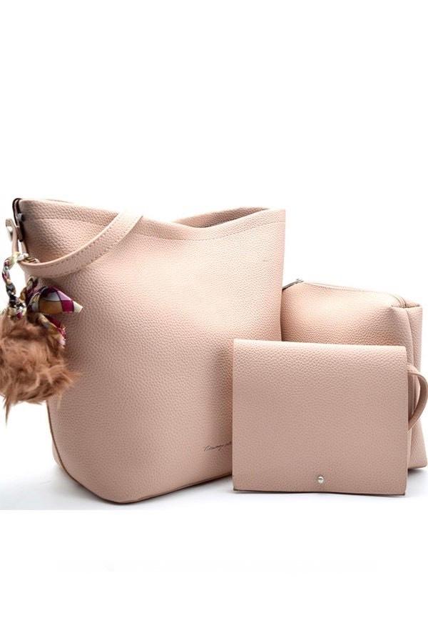Beige 3 In 1 Leather Shoulder Bag