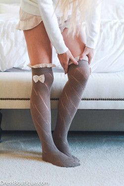 Mocha Over The Knee Boot Socks with Bow