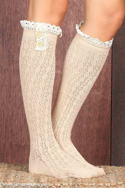 Beige Double Button Lace Boot Socks