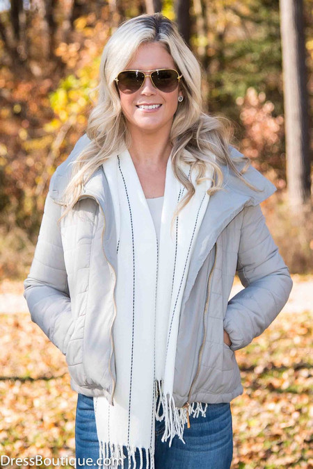 Fitted Gray Quilted Jacket
