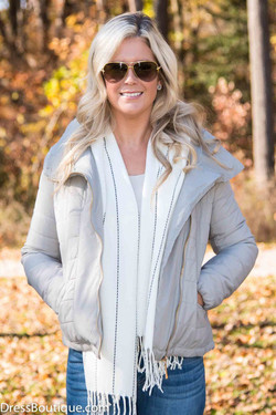 Fitted Beige Quilted Jacket