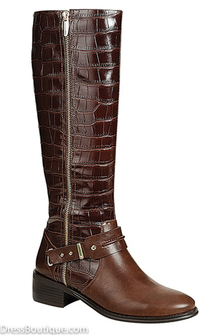 Brown Riding Boots with Crocodile Detail