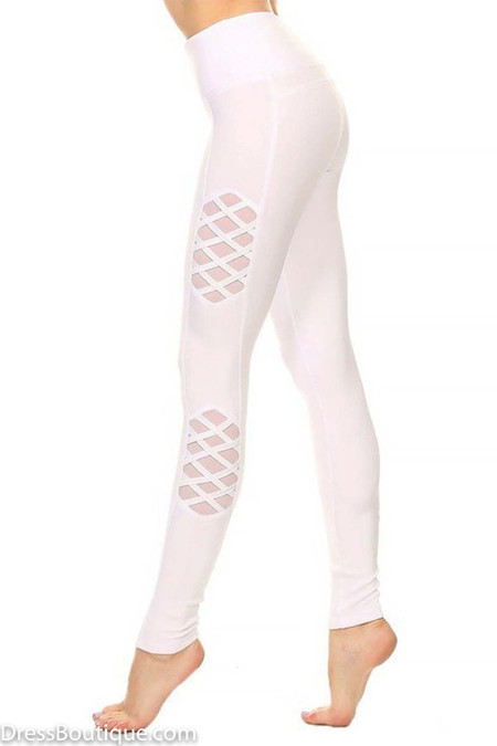 White Workout Leggings with Mesh Panelling