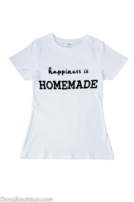 Happiness is Homemade White Graphic T-Shirt