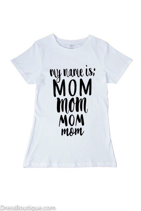 Mom White Graphic T-Shirt